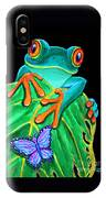 Red-eyed Tree Frog And Butterfly IPhone Case