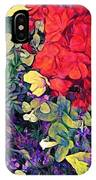 Red Geranium With Yellow And Purple Flowers - Horizontal IPhone Case