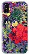 Red Geranium With Yellow And Purple Flowers - Vertical IPhone Case