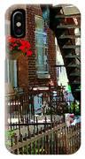 Red Geraniums Verdun Winding Staircases Hanging Flower Basket Montreal Porch Scene Carole Spandau IPhone Case