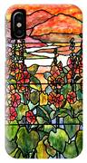Stained Glass Tiffany Red Hollyhocks In Landscape In Watercolor IPhone Case