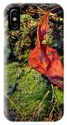 Red Leaf On Moss IPhone Case