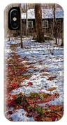 Red Leaves On Snow - Cabin In The Woods IPhone Case