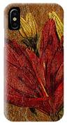 Red Lily Gold Leaf IPhone Case