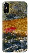 Red Maple Leaf In Stream IPhone Case