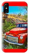 Red Pickup Truck At Santa Fe IPhone Case
