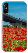 Red Poppy Field Near Highway Road IPhone Case