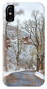 Red Rock Winter Road Portrait IPhone Case