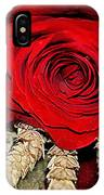 Red Rose On A Bed Of Wheat IPhone Case