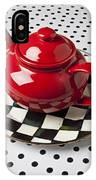 Red Teapot On Checkerboard Plate IPhone Case