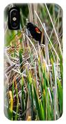 Red-winged Black Bird In The Cattails IPhone Case