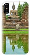 Reflecting Pool At Wat Mahathat In 13th Century Sukhothai Historical Park-thailand IPhone Case