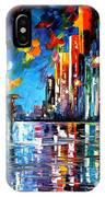 Reflections Of The Blue Rain - Palette Knife Oil Painting On Canvas By Leonid Afremov IPhone Case