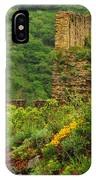 Reinfels Castle Ruins And Wildflowers In The Rhine River Valley 1 IPhone Case