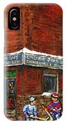 Restaurant Epicerie Jean Guy Pointe St. Charles Montreal Art Verdun Winter Scenes Hockey Paintings   IPhone Case