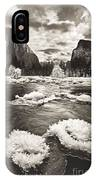Rime Ice On The Merced In Black And White IPhone Case