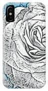 Ritzy Rose With Ink And Blue Background IPhone Case