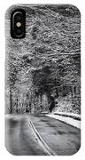 Road Through Dark Snowy Forest E93 IPhone Case