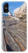 Rock Formations At Pemaquid Point Light IPhone Case