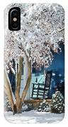 Rocking Chair On Porch In Winter IPhone Case
