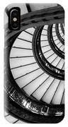 Rookery Building Looking Up The Oriel Staircase - Black And White IPhone Case