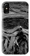 Roots Of A Fallen Tree By Wawa Ontario In Black And White IPhone Case
