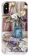 Roses Tulips And Striped Curtains IPhone Case