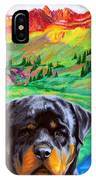 Rottweiler Dogs Landscape Painting Bright Colors IPhone Case