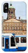 Royal Palace And Trams In Amsterdam IPhone Case
