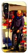 Sacks Of Potatoes Red Pepper Pots Tomato Baskets Marche Jean Talon Montreal Scenes Carole Spandau IPhone Case
