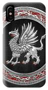 Sacred Silver Griffin On Black Leather IPhone Case