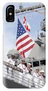 Sailors Man The Rails Aboard Uss IPhone Case