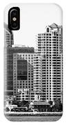 San Diego Skyline In Black And White IPhone Case