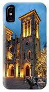 San Fernando Cathedral And Christmas Tree Main Plaza - San Antonio Texas IPhone Case