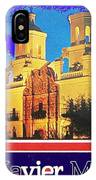 San Xavier Mission Postcard #1  With Lettering No Date-2013  IPhone Case