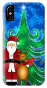 Santa And Reindeer In Winter Snow Scene IPhone Case