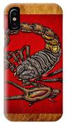 Scorpion On Red And Brown Leather IPhone Case