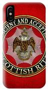 Scottish Rite Double-headed Eagle On Red Leather IPhone Case