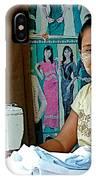 Seamstress At Her Sewing Machine In Tachilek-burma IPhone Case