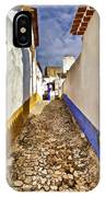Secluded Cobblestone Street In The Medieval Village Of Obidos IIi IPhone Case