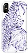 Sepia Tone Drawing Of A Tenor Saxophone 3356.03 IPhone Case