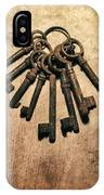 Set Of Old Rusty Keys On The Metal Surface IPhone Case