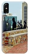 Shadow Representations Of People Coming To The Port In Donkin Reserve In Port Elizabeth-south Africa   IPhone Case