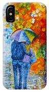 Sharing Love On A Rainy Evening Original Palette Knife Painting IPhone X Case