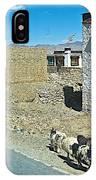 Sheep And Shepherd Along The Road To Shigatse-tibet IPhone Case