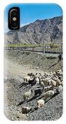 Sheep Crossing The Road To Shigatse-tibet  IPhone Case