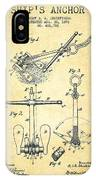 Ship Anchor Patent From 1892 - Vintage IPhone Case