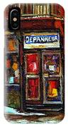 Shops And Streets Of St Henri- Montreal Paintings Depanneur Coca Cola Winter City Scenes IPhone Case
