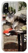 Funny Pet A Wine Bibbing Kitty  IPhone Case