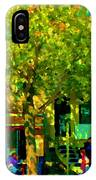 Sidewalk Cafe Rue St Denis Dappled Sunlight Shade Trees Joys Of Montreal City Scene  Carole Spandau IPhone Case